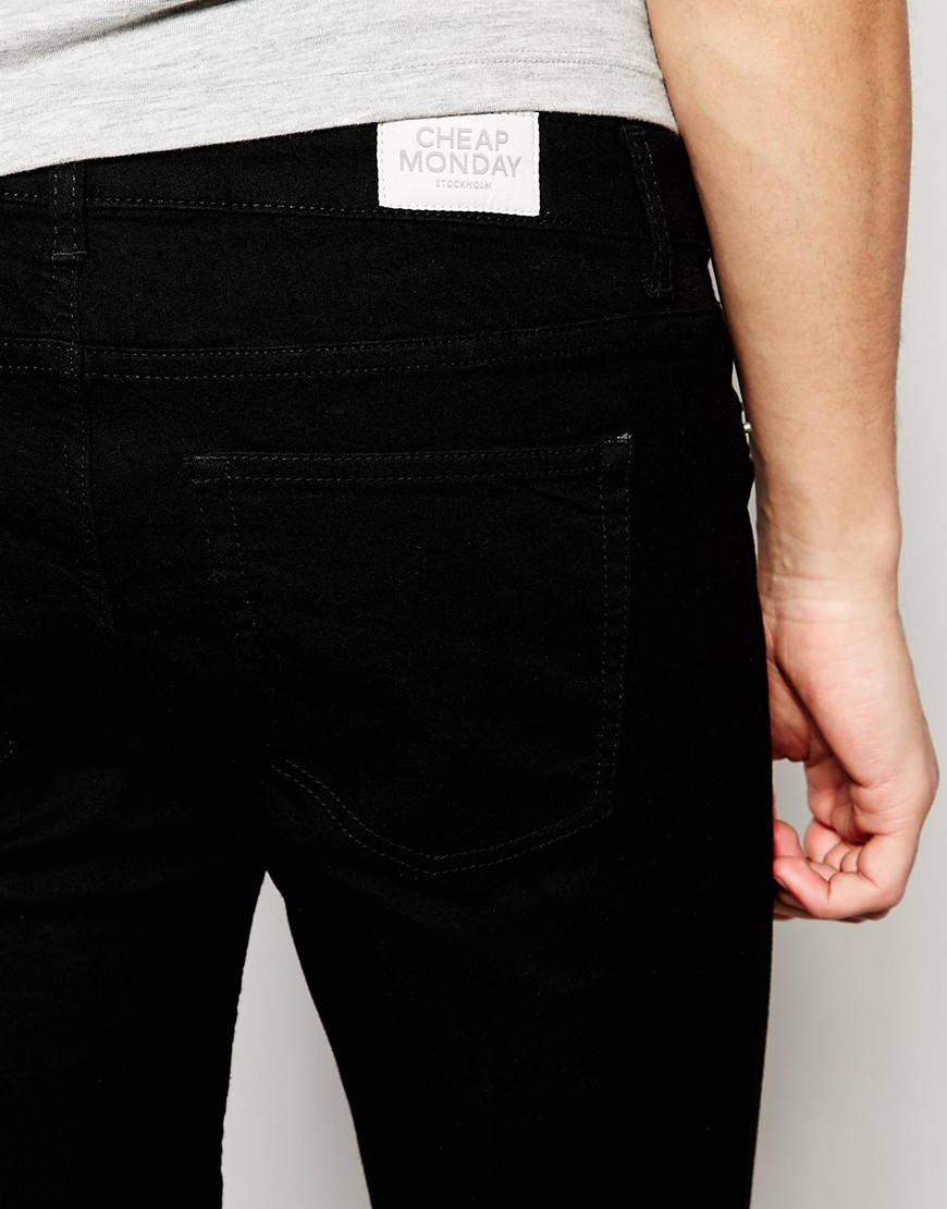 Cheap monday Jeans Low Spray Super Skinny Black in Black for Men ...
