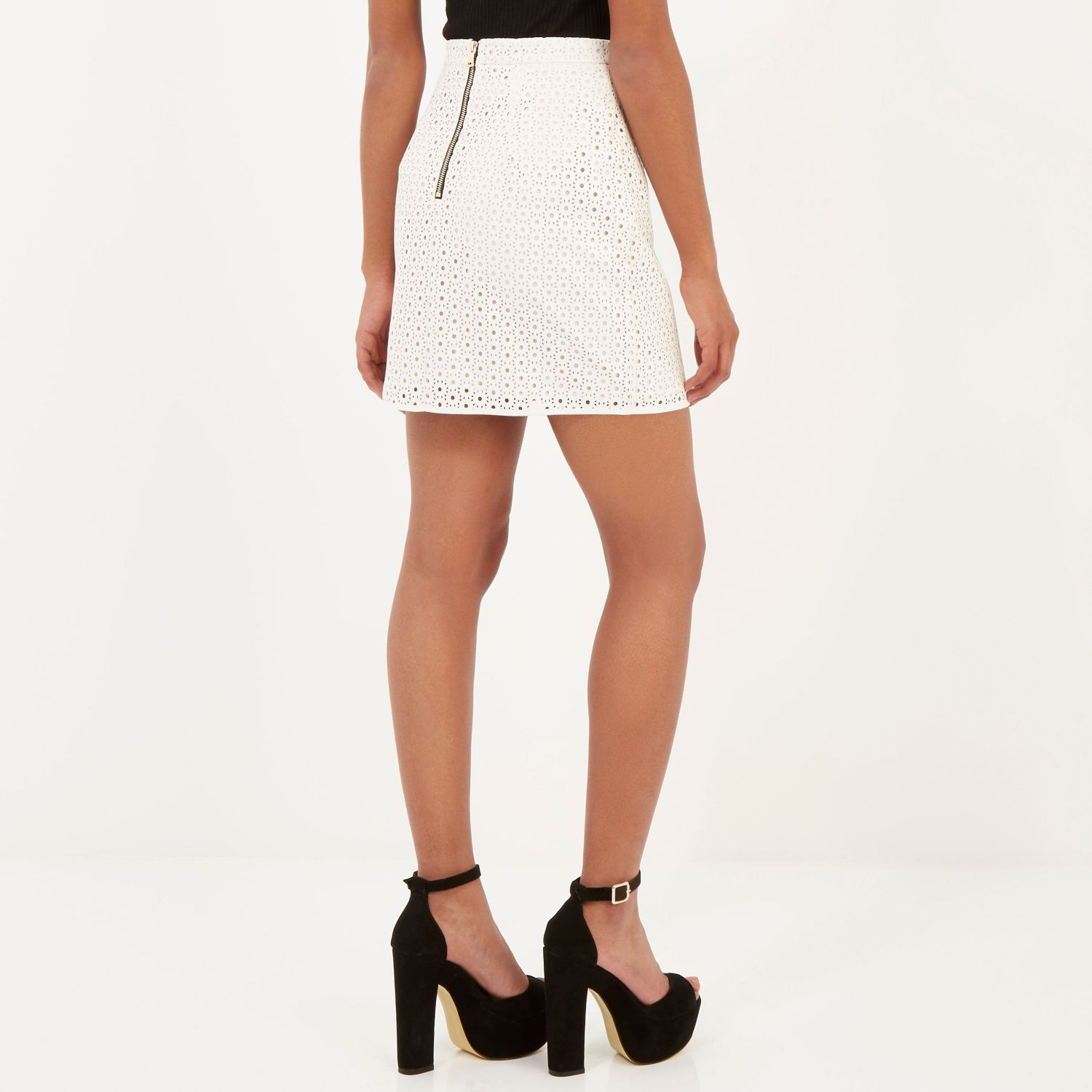 River island White Leather-look Laser Cut Mini Skirt in White | Lyst