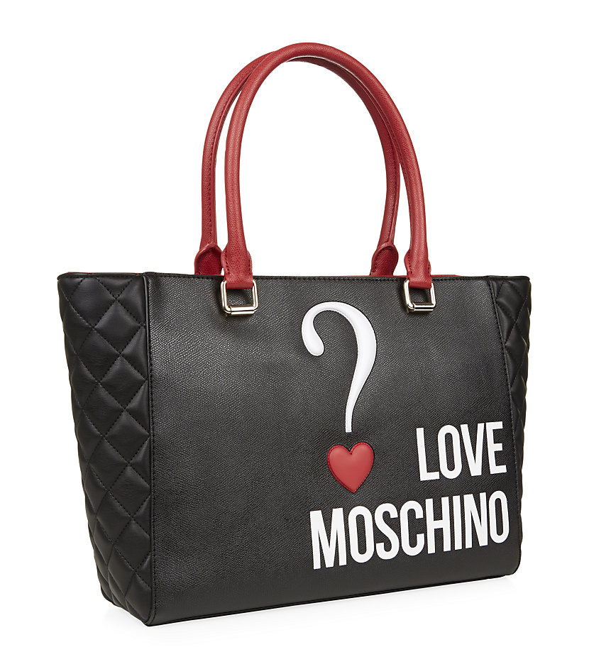love moschino question mark shopper in black lyst. Black Bedroom Furniture Sets. Home Design Ideas
