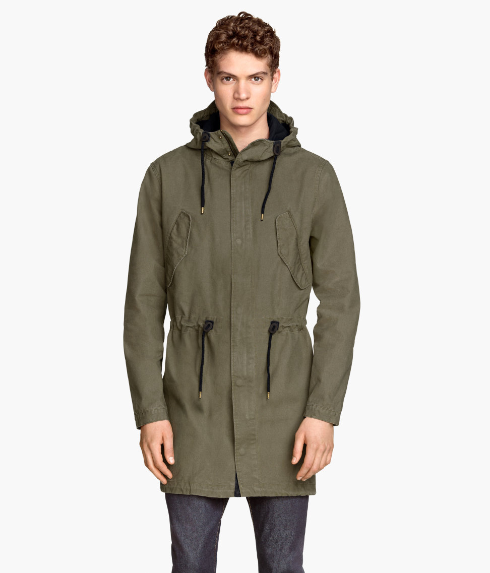 H&ampm Cotton Parka in Natural for Men | Lyst