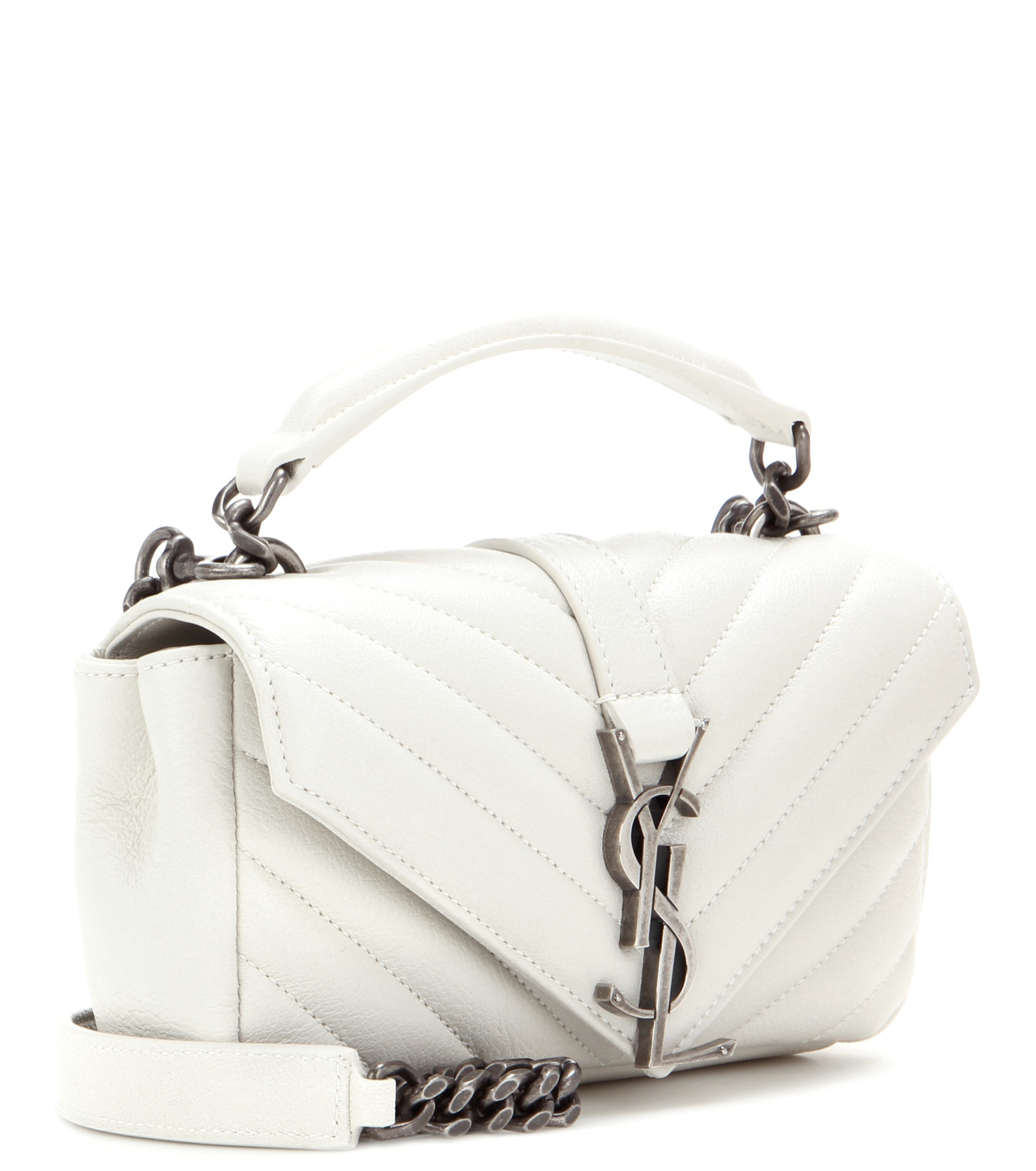 c85e3b3b8108 Lyst - Saint Laurent Monogram College Mini Quilted Leather Shoulder Bag in  White