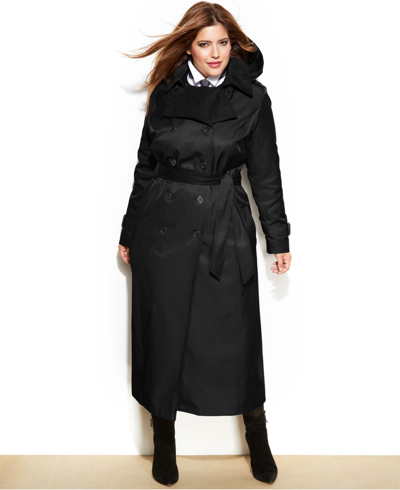 cc29a484448 DKNY Plus Size Maxi Trench Coat in Black - Lyst