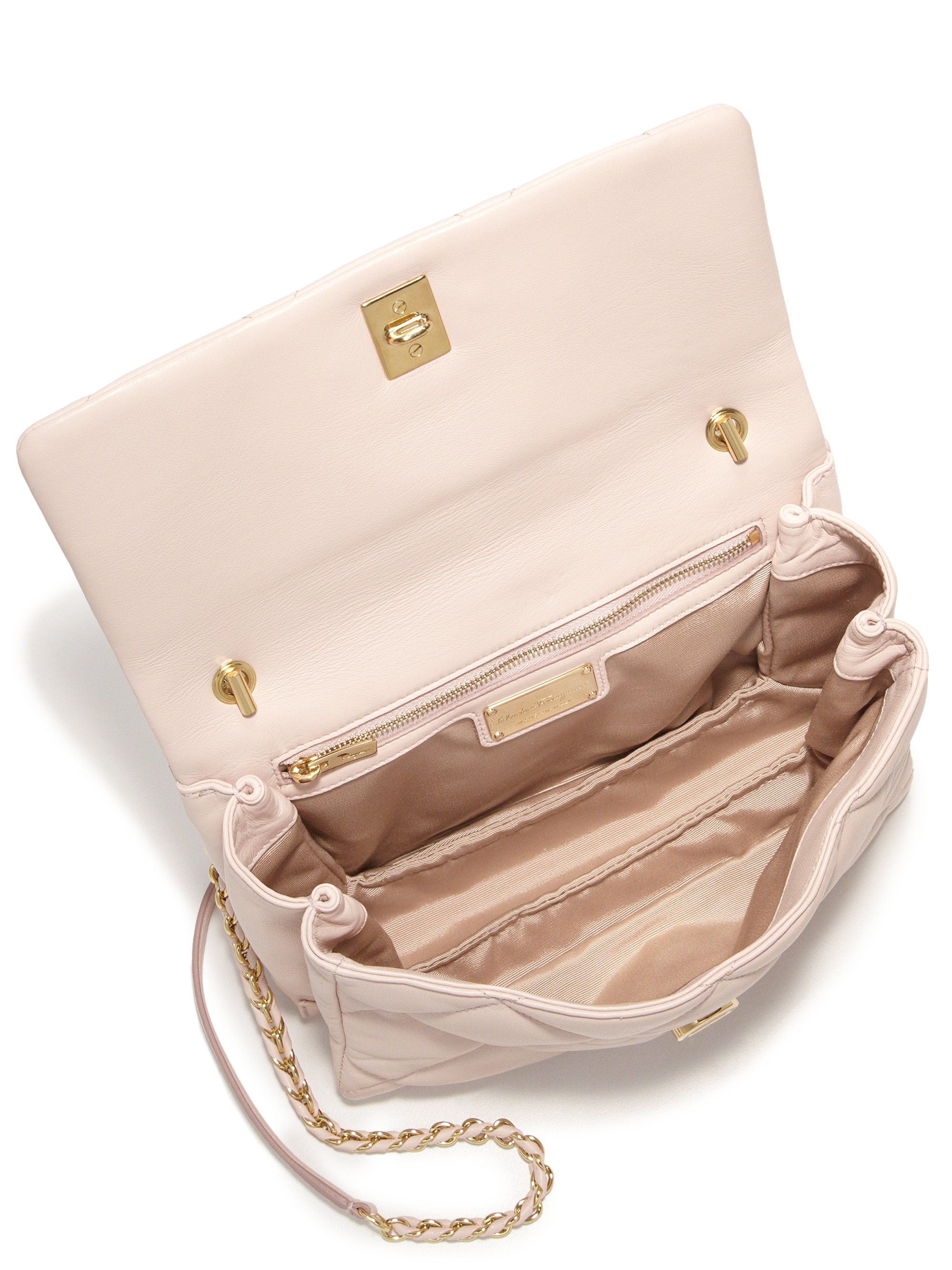 5194ddd2e98c Lyst - Ferragamo Gelly Quilted Nappa Leather Shoulder Bag in Natural