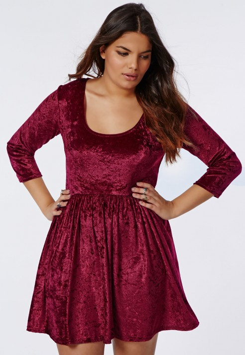 Lyst - Missguided Plus Size Crushed Velvet Skater Dress Burgundy in Red 9ef13c3cd