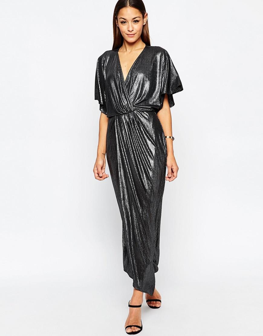 Asos metallic wrap kimono maxi dress silver in metallic for Robe maxi mariage asos