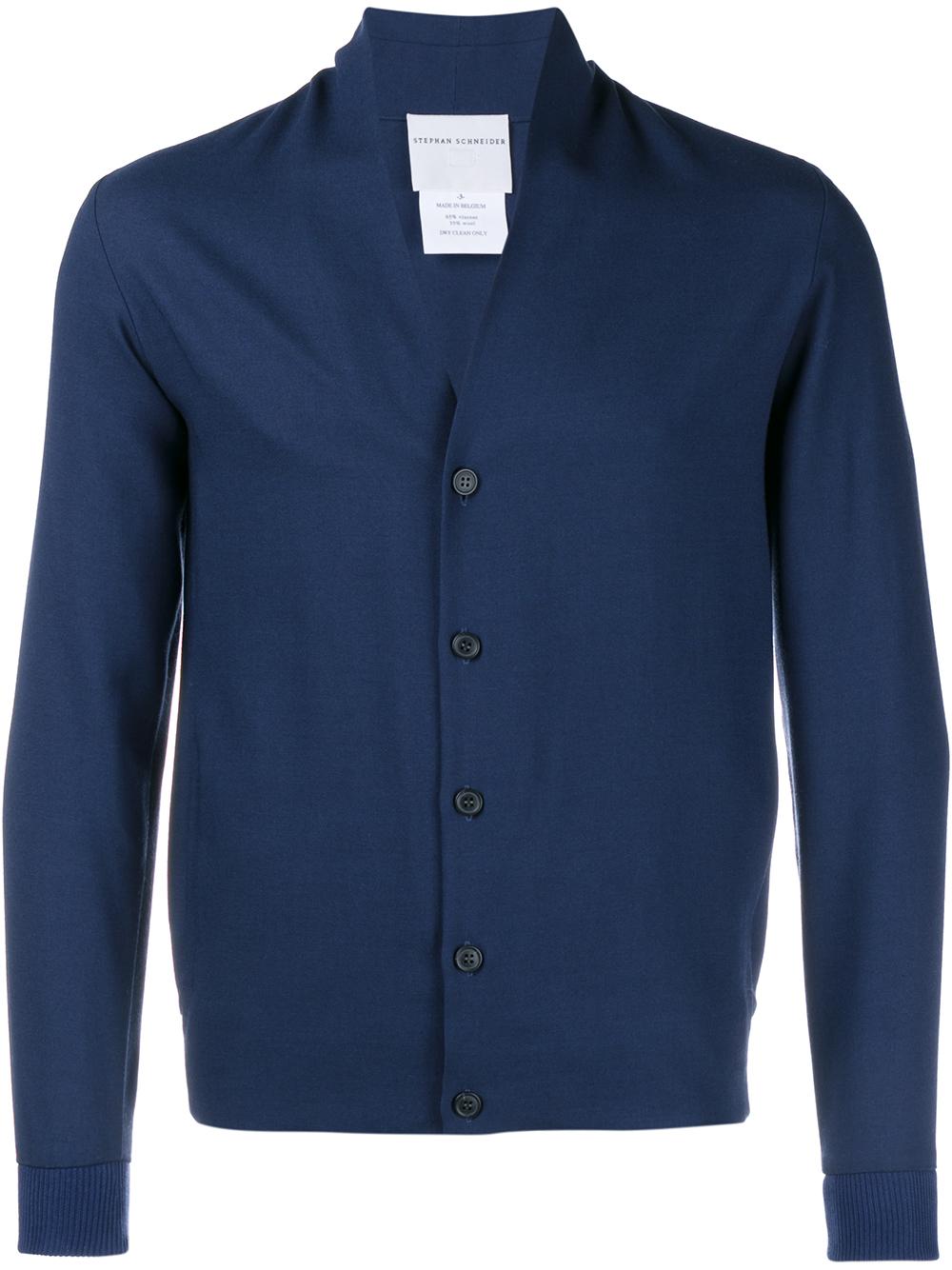 Stephan schneider Long Sleeved Wool Cardigan in Blue for Men | Lyst