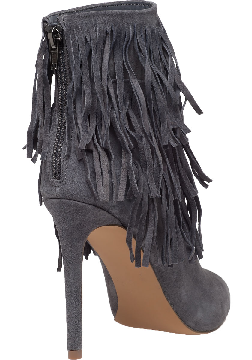 Steve madden Flapper Fringed Suede Ankle Boots in Gray | Lyst