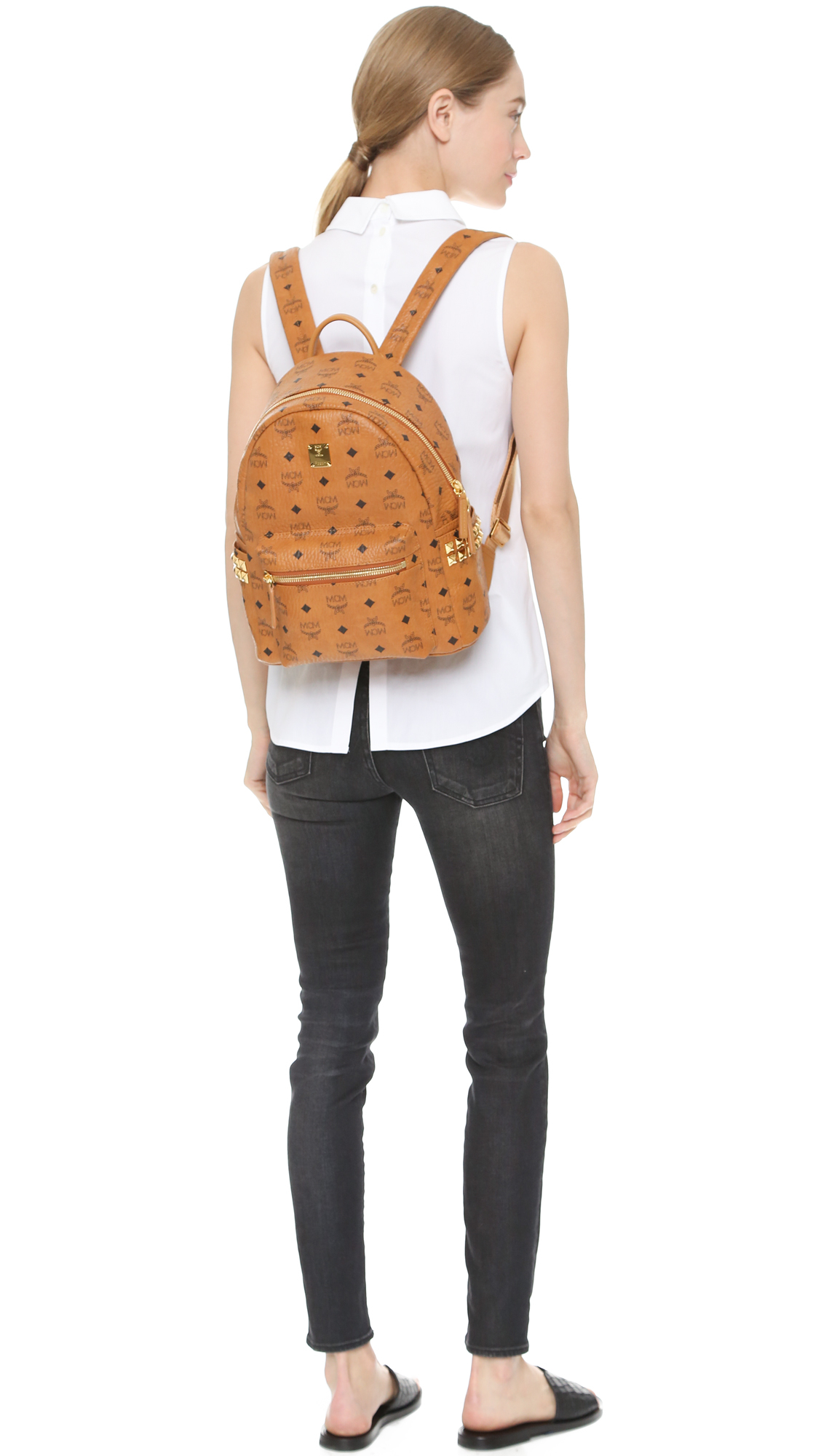 9e1e5d426f0a3 MCM Side Stud Small Stark Backpack - Cognac in Brown - Lyst