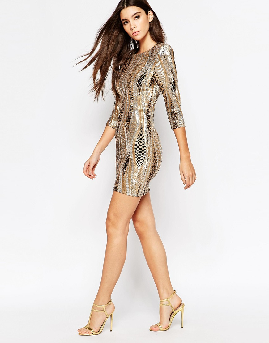 Tfnc london All Over Sequin Mini Dress With 3/4 Sleeve in ...