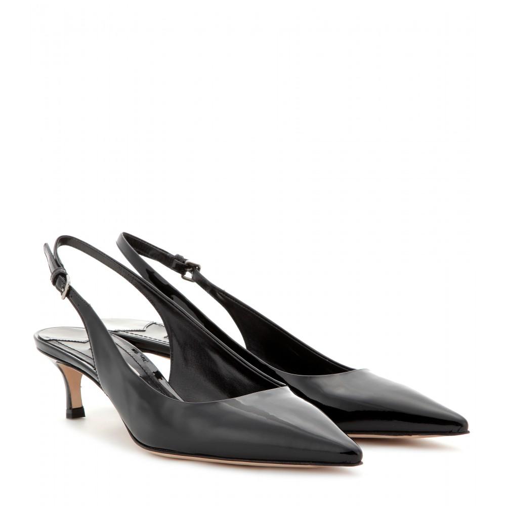 f4c5f1ad43c4 Miu Miu Patent-Leather Sling-Back Kitten-Heel Pumps in Black - Lyst