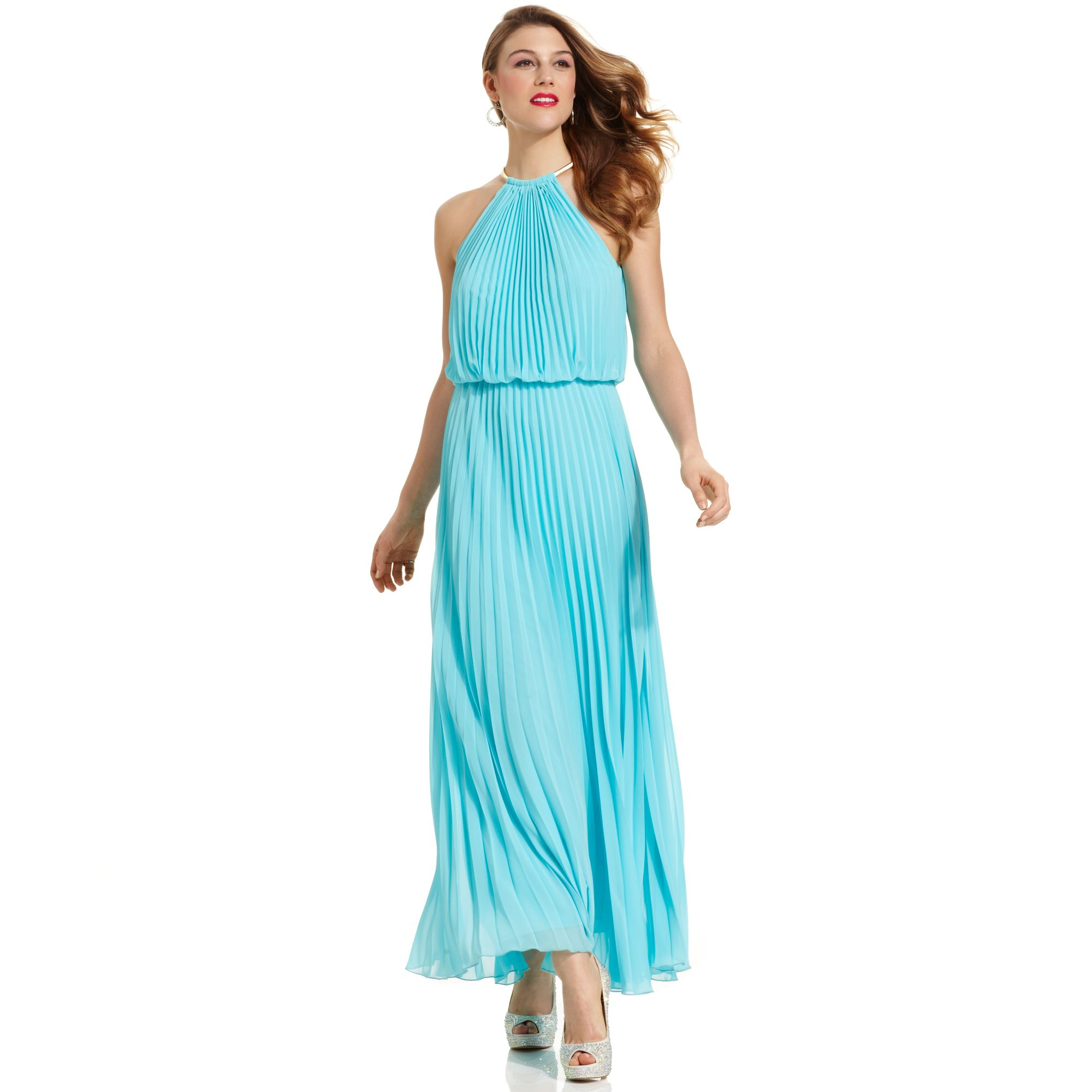 Lyst - Xscape Pleated Halter Blouson Gown in Blue