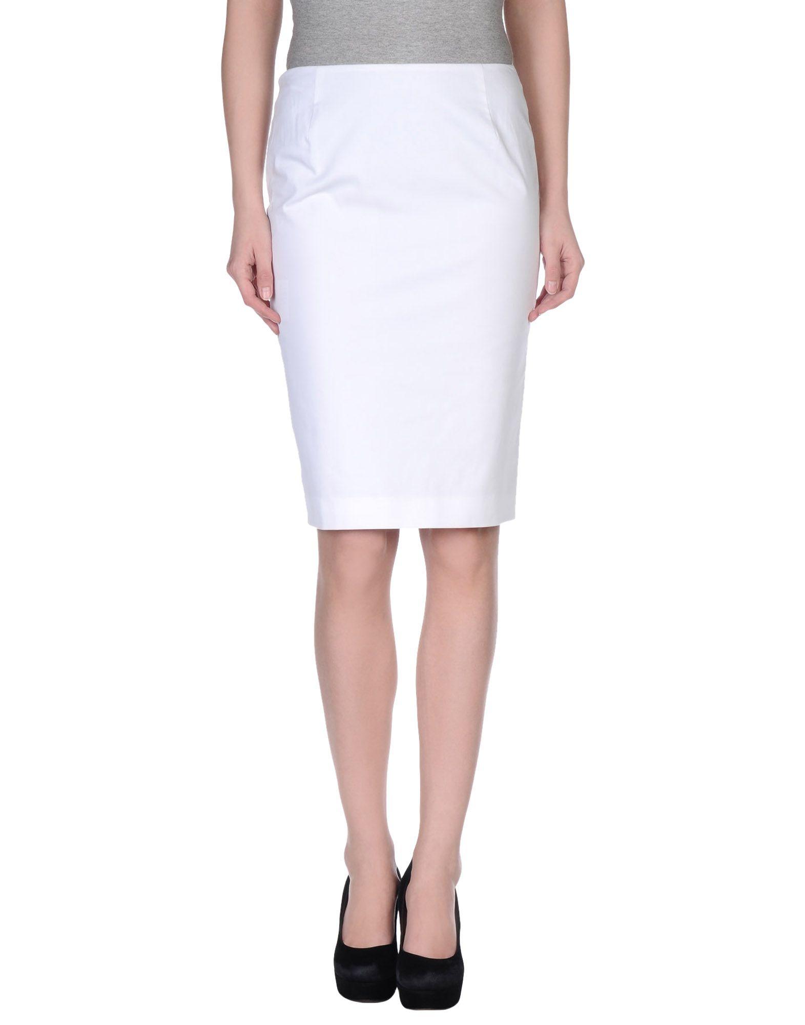 jil sander knee length skirt in white lyst