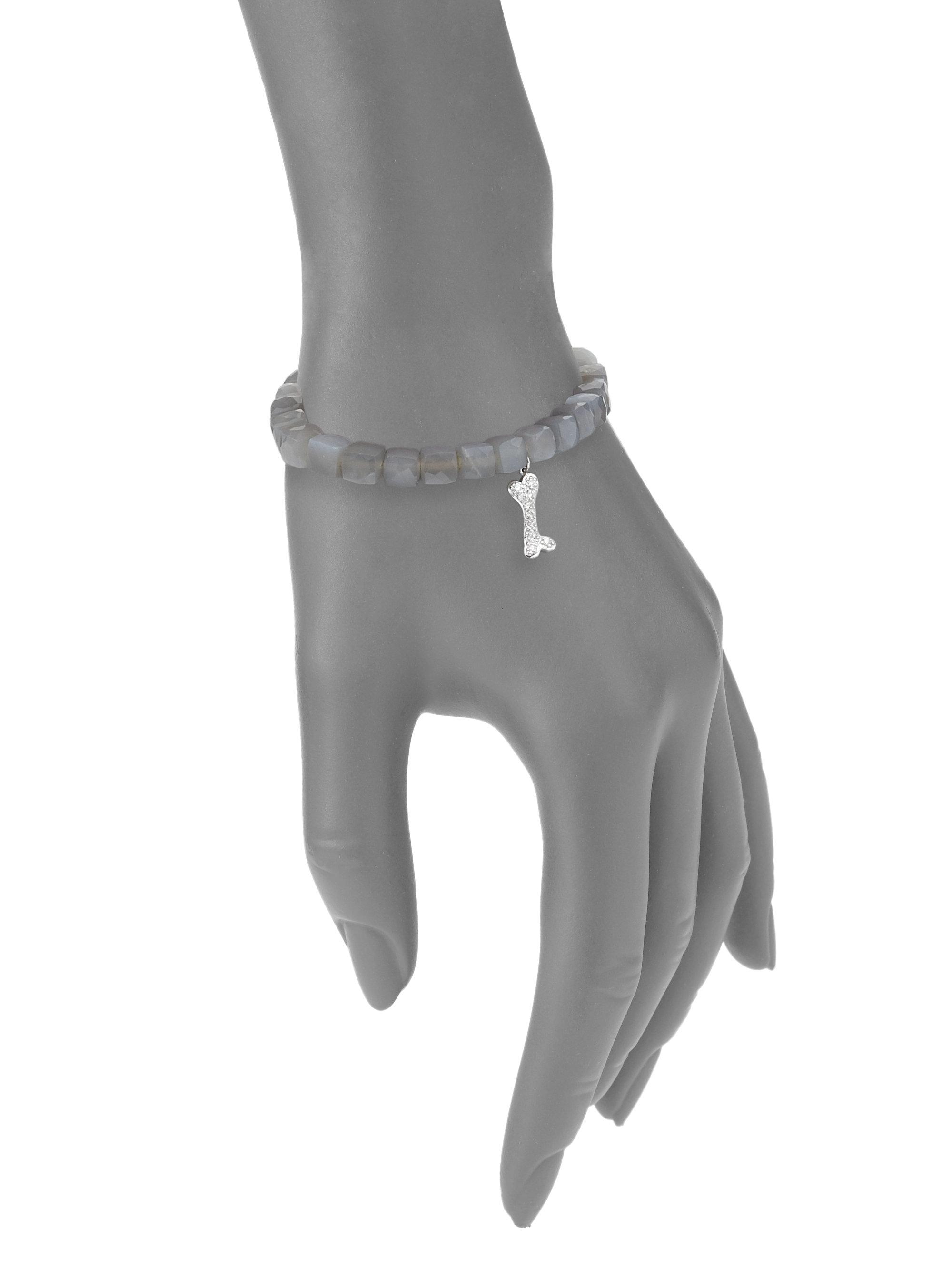 Lyst sydney evan pave dog bone moonstone bead bracelet with gallery aloadofball Gallery