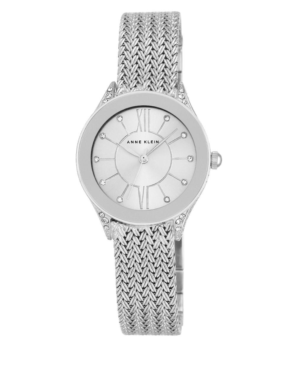 Lyst anne klein silvertone and swarovski crystal watch in metallic for Anne klein swarovski crystals