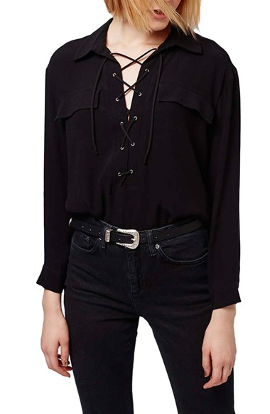 Topshop Lace-up Pocket Blouse in Black | Lyst