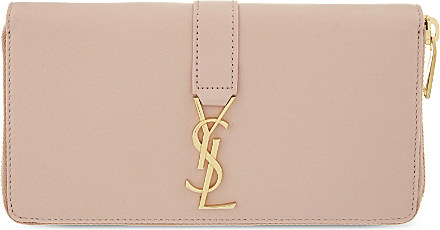 Monogram Leather Zip Wallet, Red