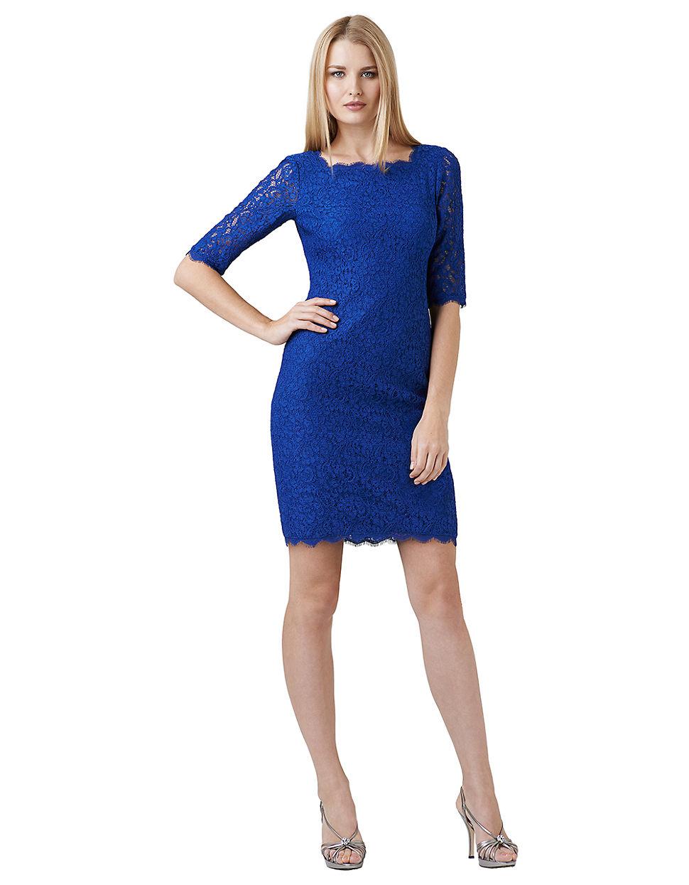 Blue Lace Cocktail Dress