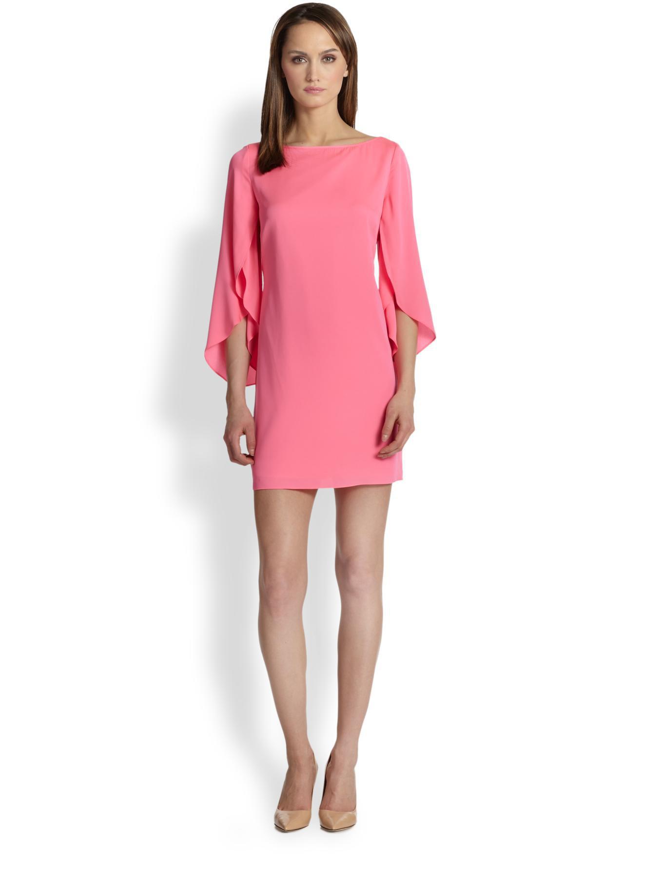 Milly Butterfly Sleeve Silk Dress in Pink | Lyst