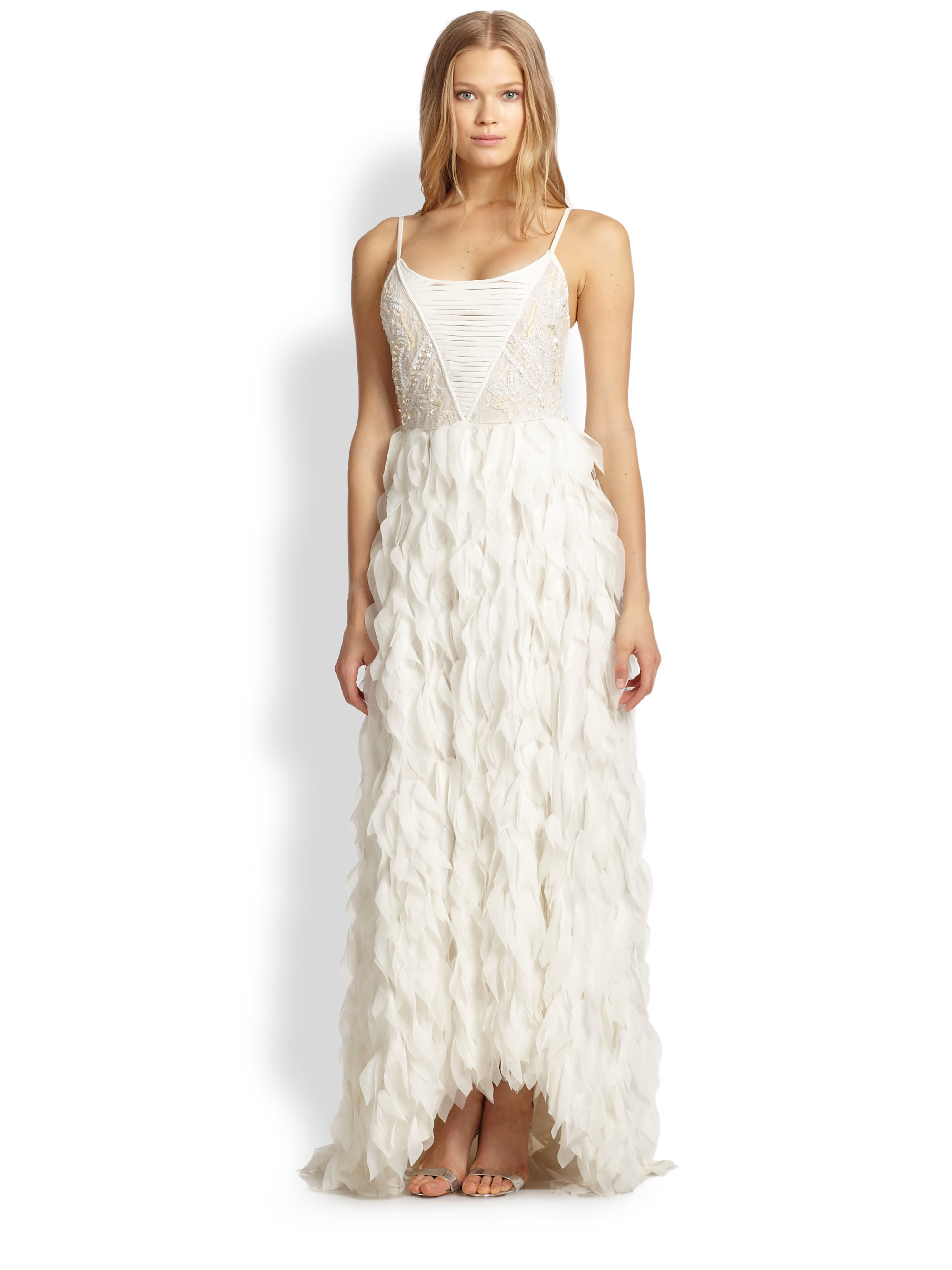 Alice   olivia Eaddy Embroidered Feather Gown in White | Lyst