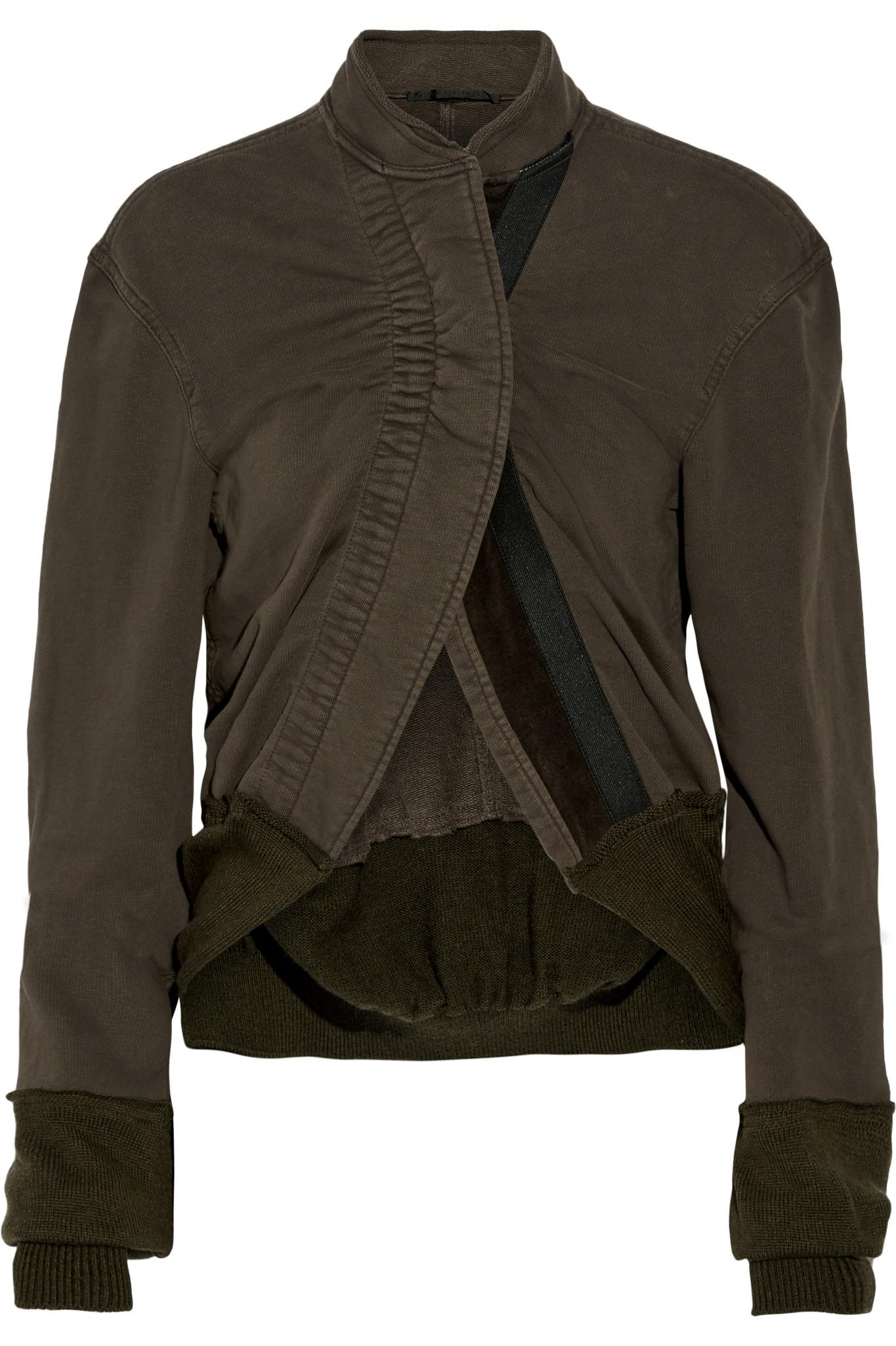 Haider Ackermann Paneled Cotton-jersey Jacket in Green