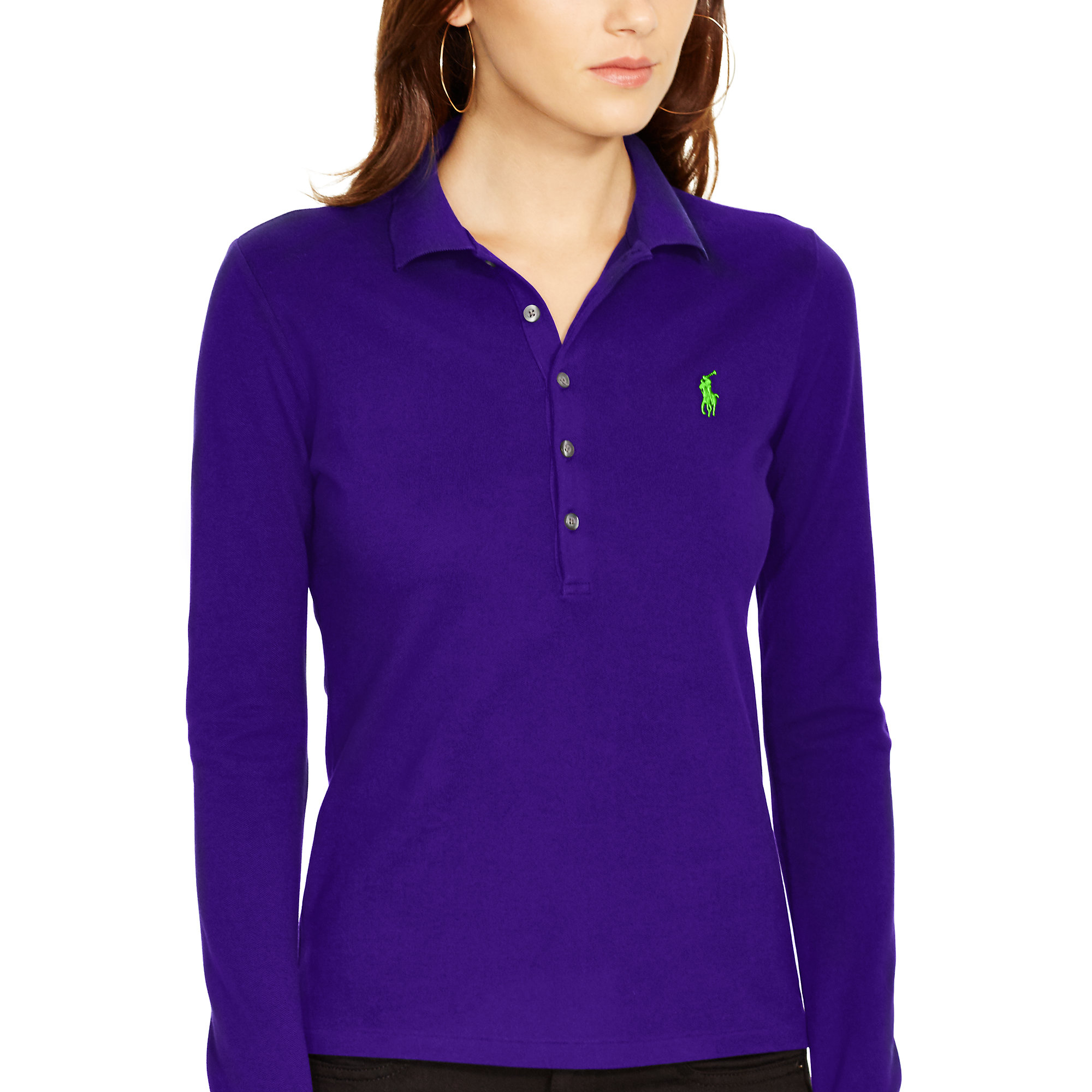 Polo ralph lauren long sleeve stretch polo in purple lyst for Long sleeve purple polo shirt