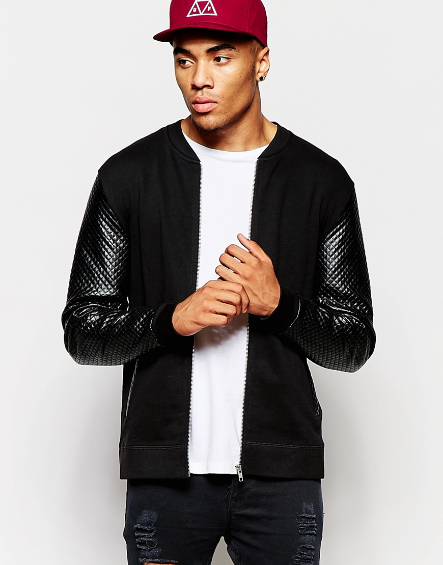 Asos Jersey Bomber Jacket With Quilted Faux Leather ...