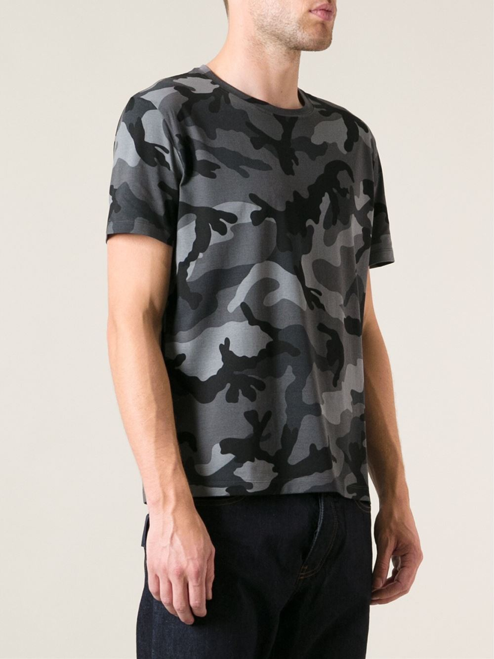 Valentino Camouflage T Shirt In Gray For Men Grey Lyst