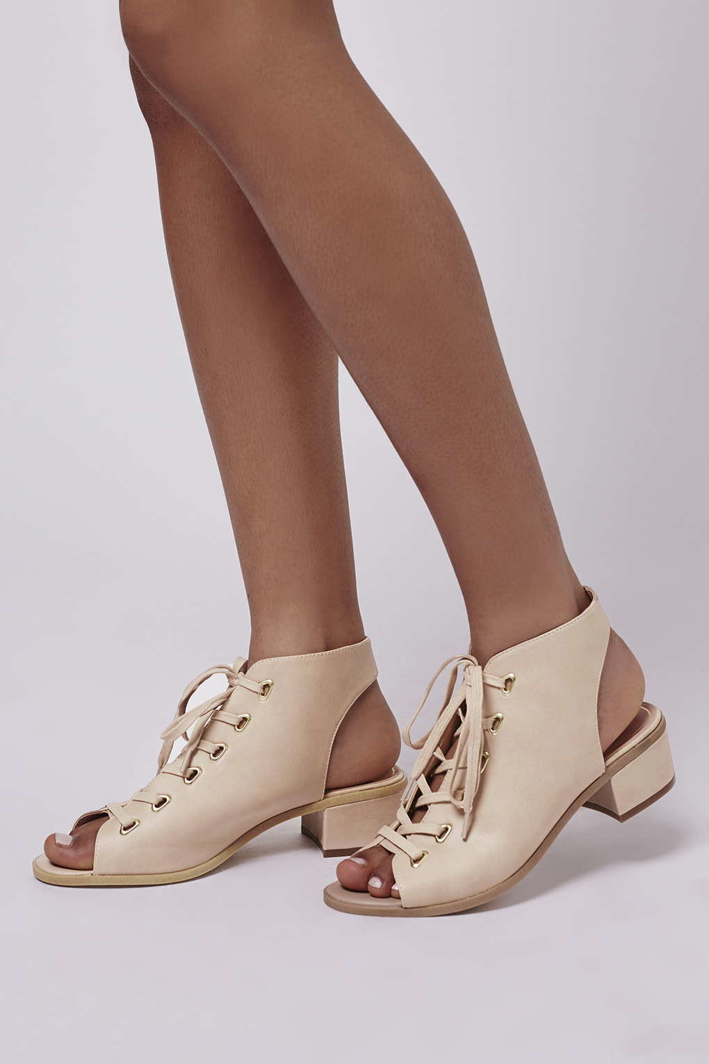 topshop lace up shoe boot in beige lyst