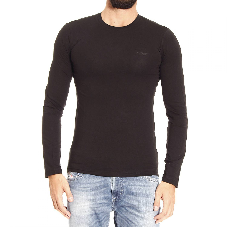 Lyst armani jeans t shirt long sleeve crewneck basic in for Black armani t shirt