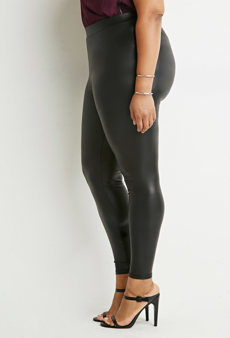 Original Forever 21 Faux Leather Leggings In Black  Lyst