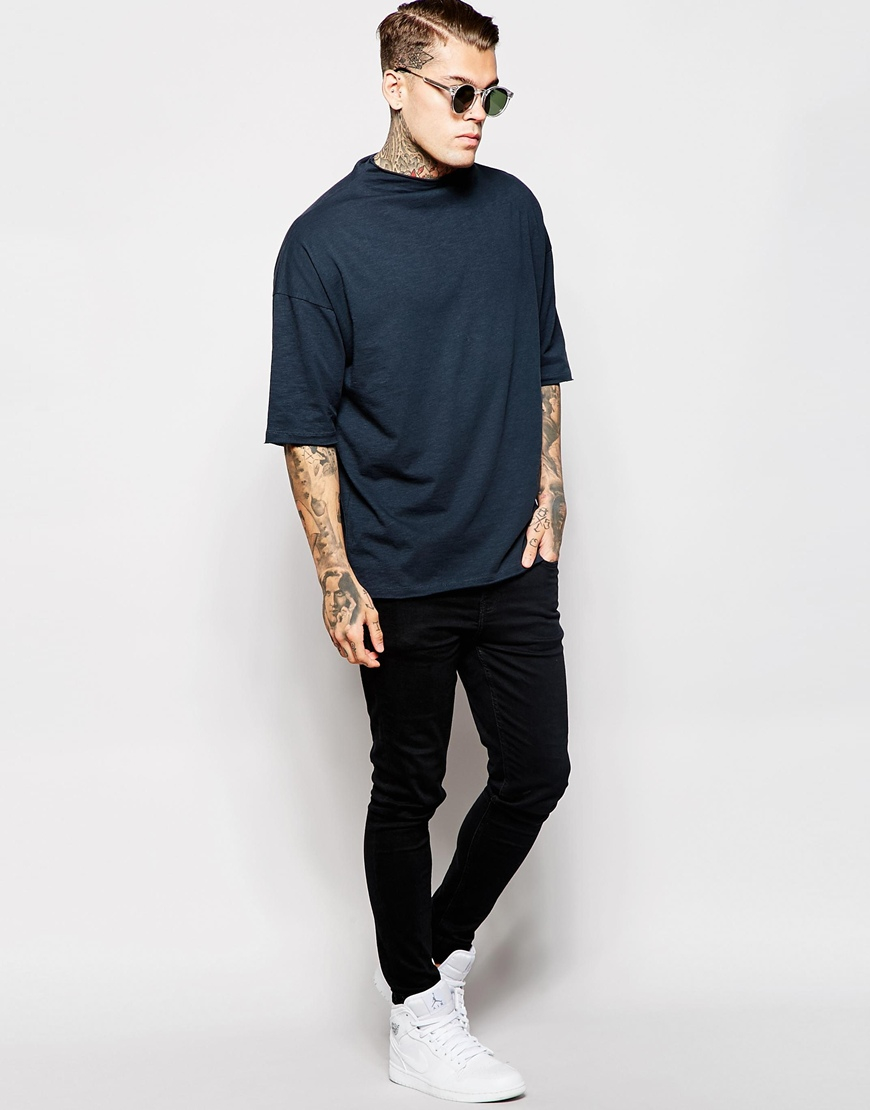lyst asos oversized t shirt with raw edge turtle neck in black for men. Black Bedroom Furniture Sets. Home Design Ideas