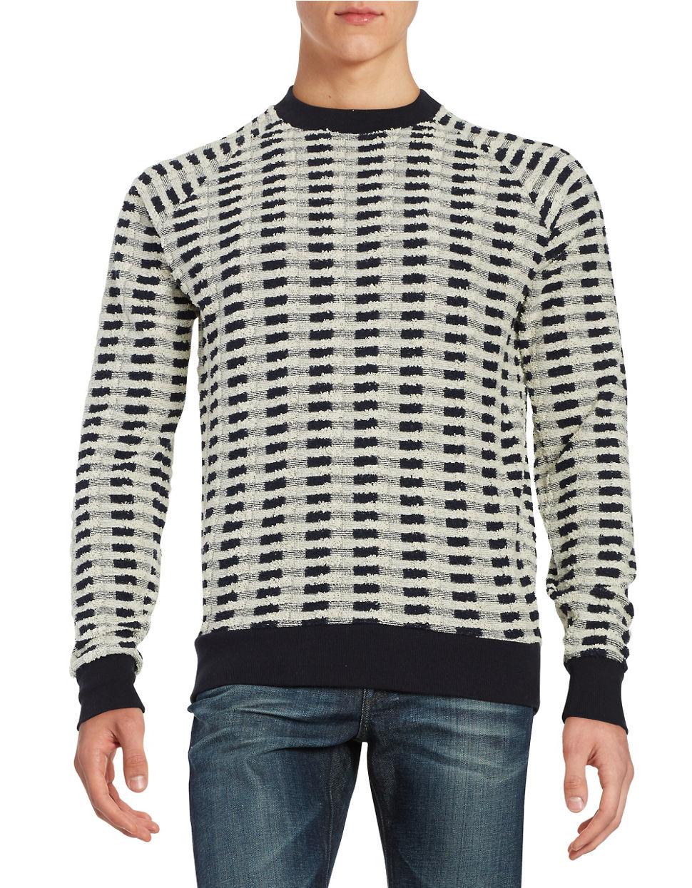 lucio castro textured sweater in white for lyst
