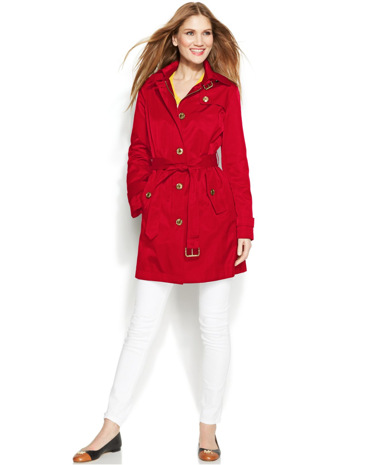Michael kors Michael Petite Hooded Belted Trench Coat in Red | Lyst