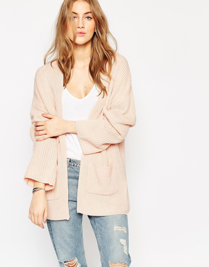 Asos Ultimate Chunky Cardigan in Pink | Lyst