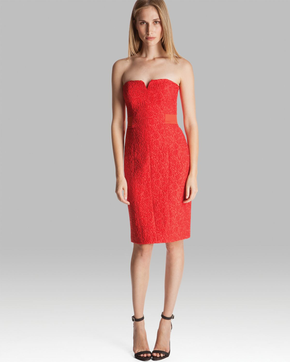 Halston Dress Strapless Jacquard in Red | Lyst