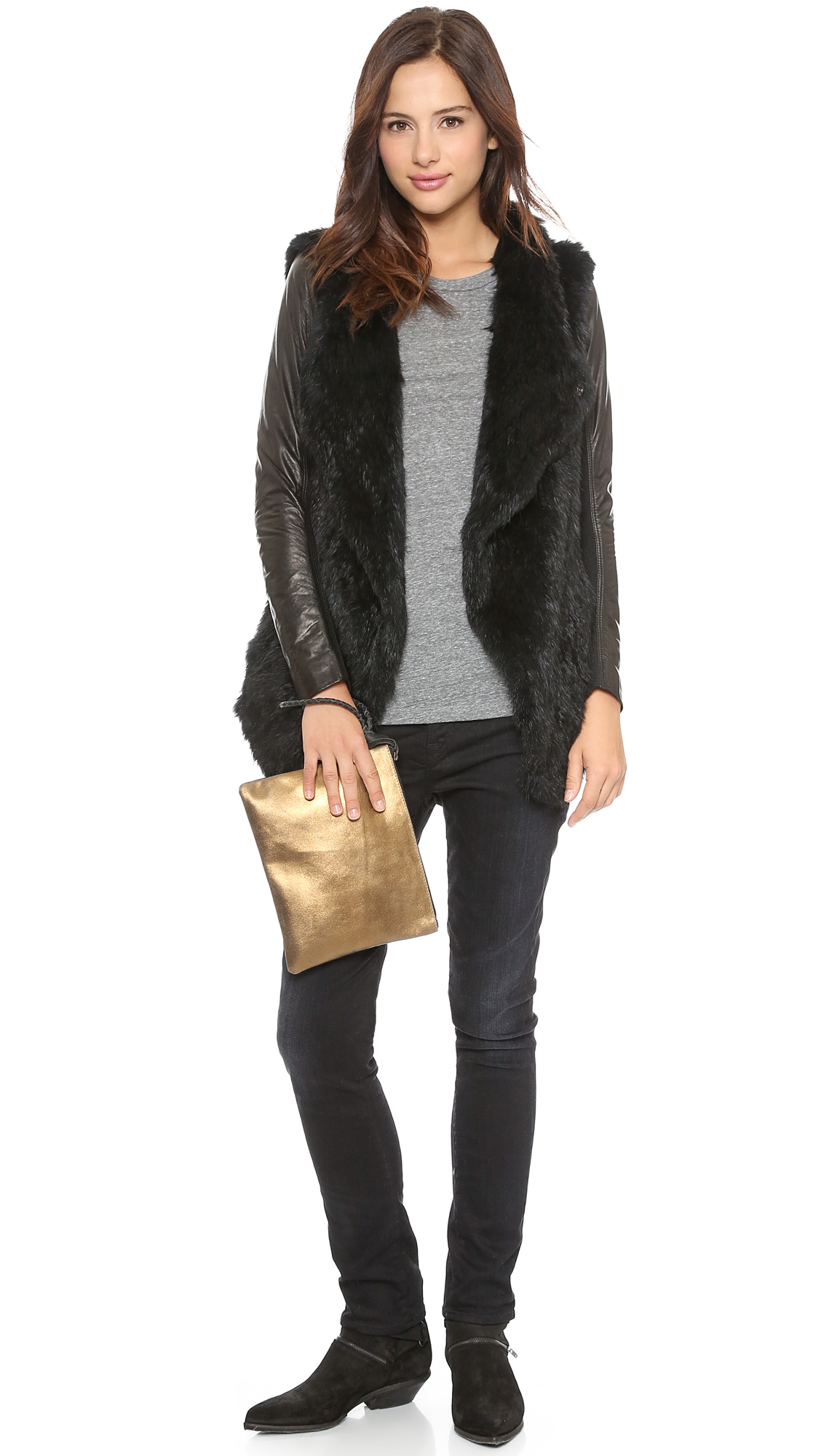 June Knit Fur Jacket With Leather Sleeves - Black in Black | Lyst