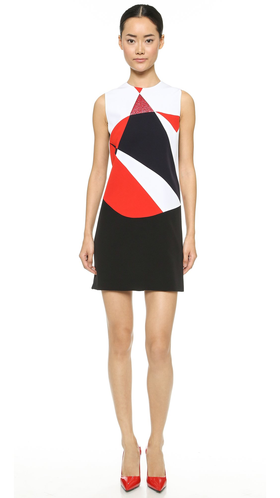 Red and white colorblock dress