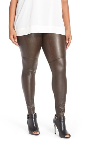 LEATHER LEGGINGS FOR WOMEN. Give your look of-the-moment appeal with leather leggings. Whether you want a sedate pair you can wear to work under your favorite sweater or a cutting-edge option ideal for nights on the town, this collection offers just what you're after from your favorite designers, including Calvin Klein, SPANX, Theory .