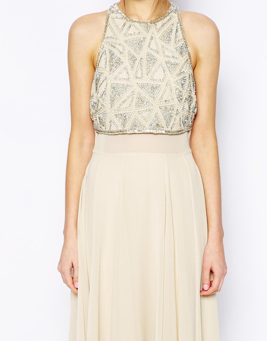 90bae01a ASOS Maxi Dress With Embellished Crop Top in Natural - Lyst