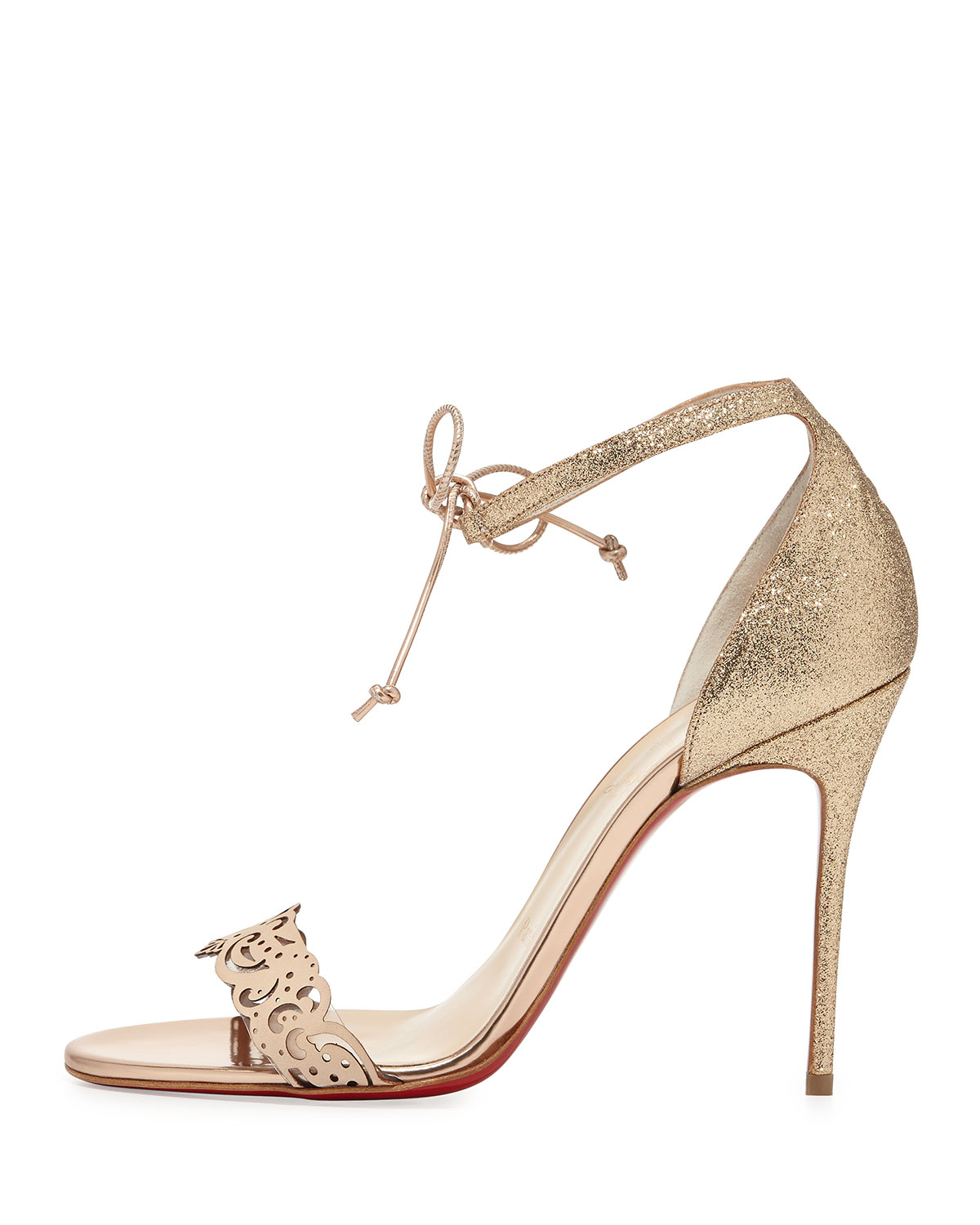 christian louboutin gold glitter sandals