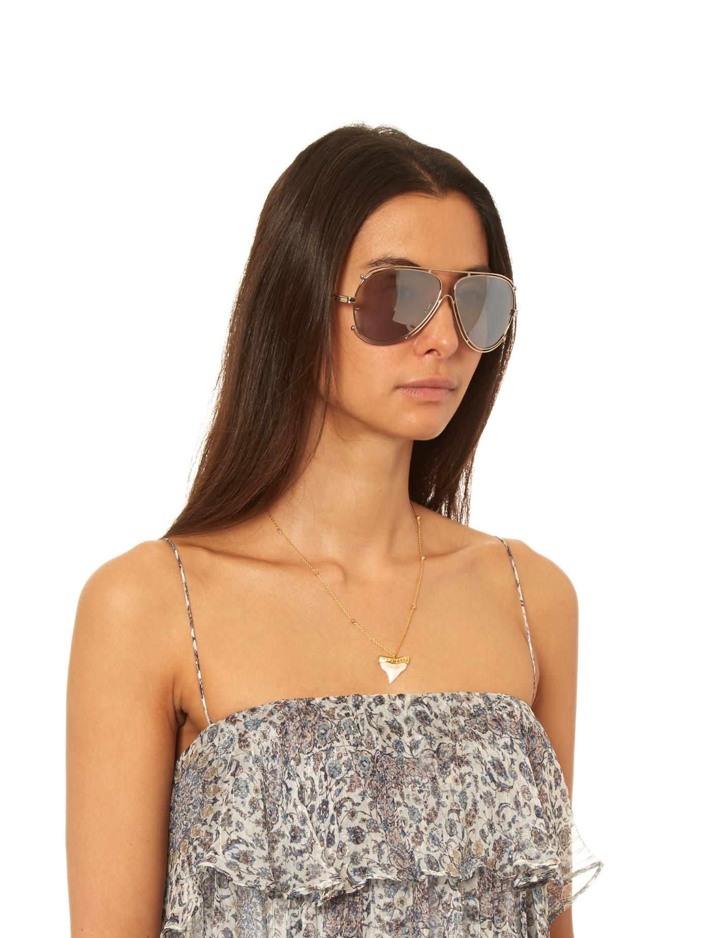 94bec97252c Lyst - Chloé Isidora Aviator Sunglasses in Metallic