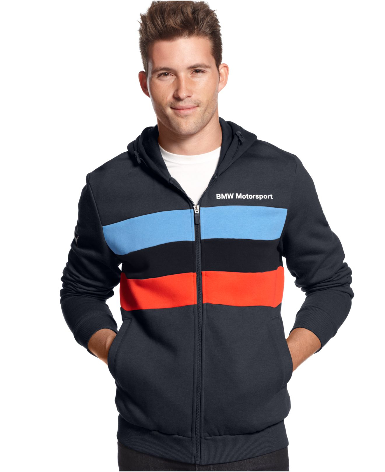 Puma Bmw Motorsport Full zip Fleece Hoodie in Blue for Men | Lyst