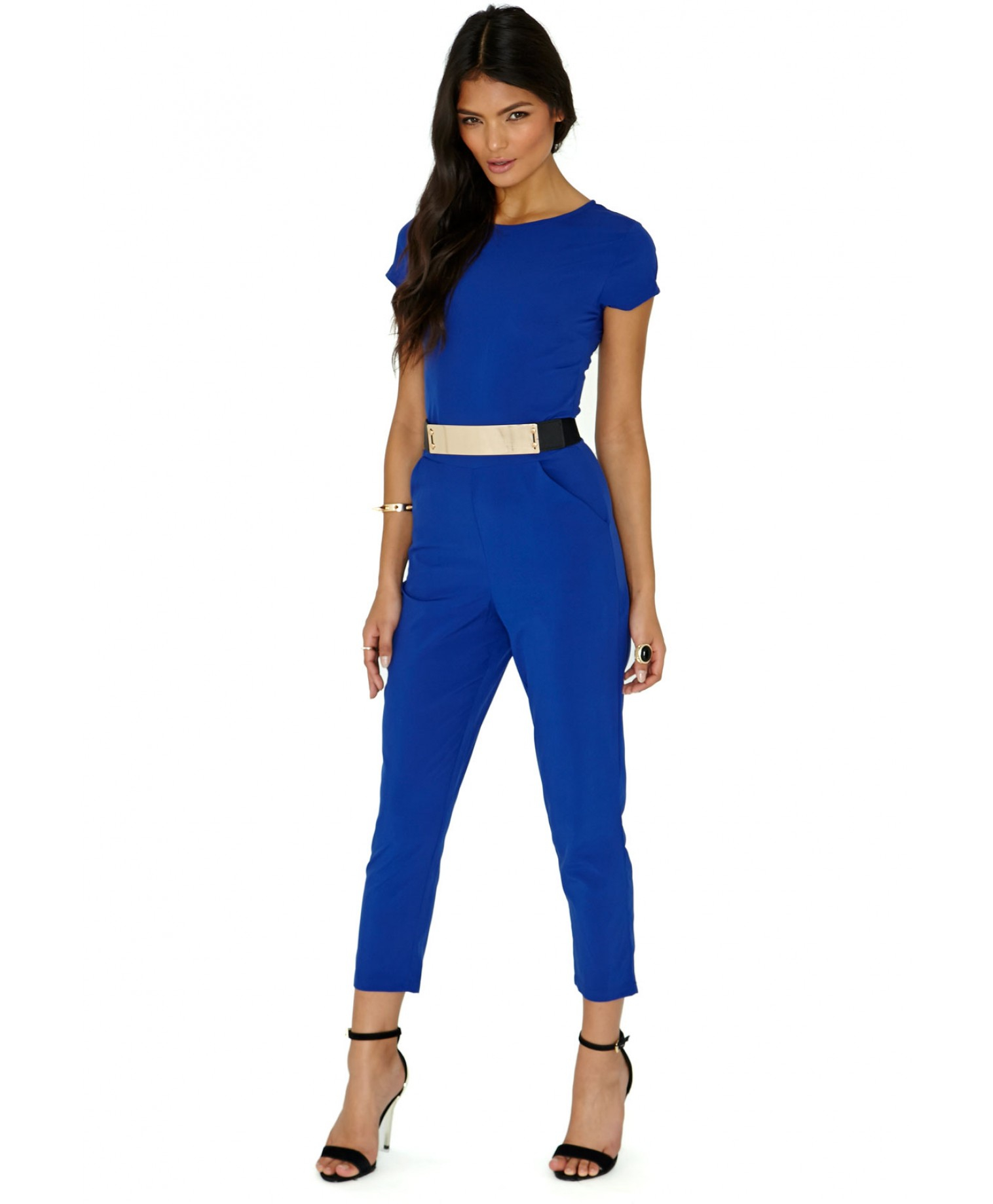 cb274c2b79e2 Lyst - Missguided Polly Blue Belted Jumpsuit in Blue