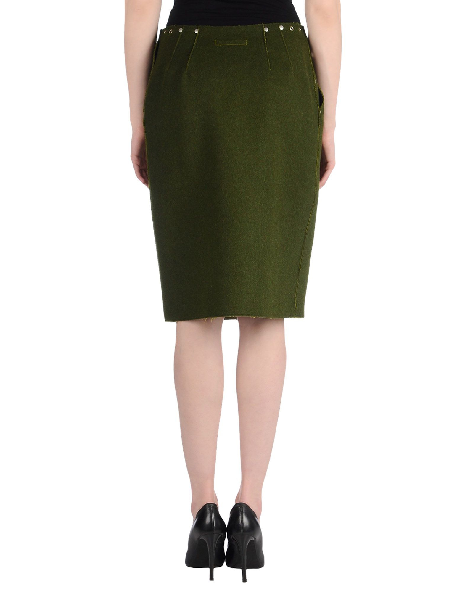 jean paul gaultier knee length skirt in green lyst