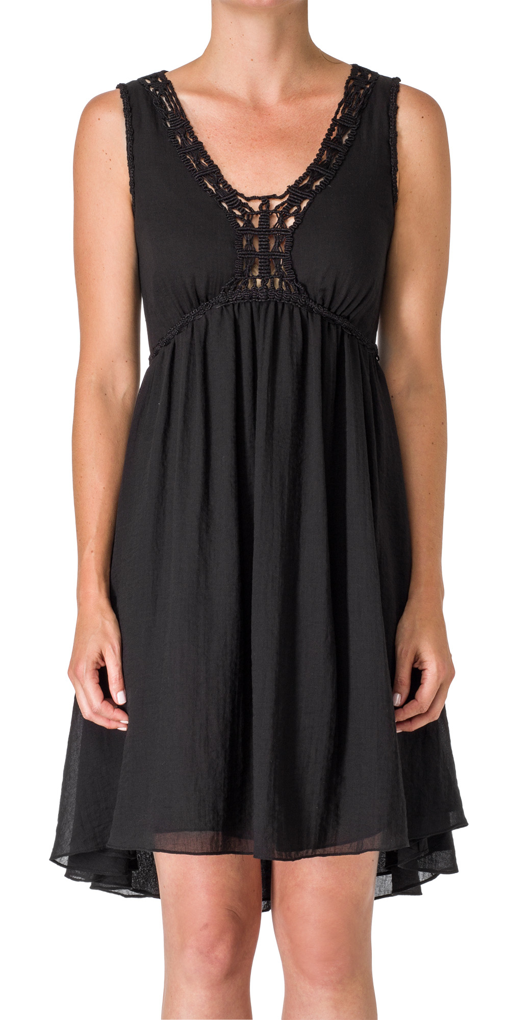 macrame clothes max macrame shirred dress in black lyst 7980