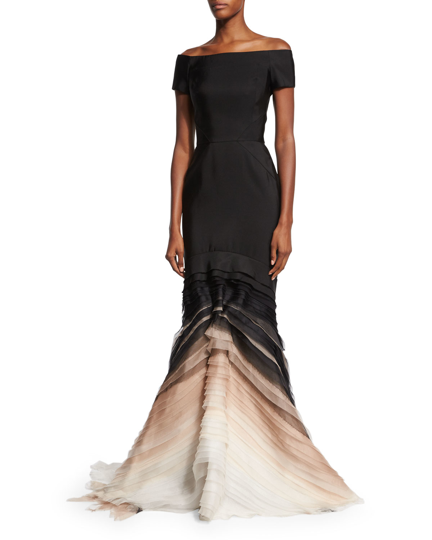 Lyst - J. Mendel Off-the-shoulder Silk Faille Degrade Gown in Black