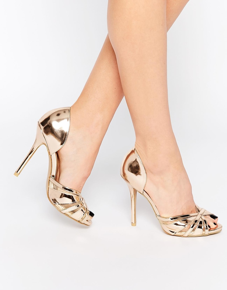 Lyst - True decadence Rose Gold Metallic Heeled Peep Toe Sandals ...