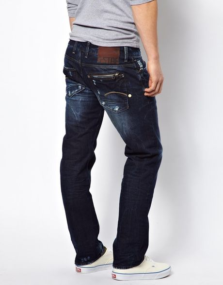 star raw g star jeans attacc low straight fit medium aged in blue. Black Bedroom Furniture Sets. Home Design Ideas