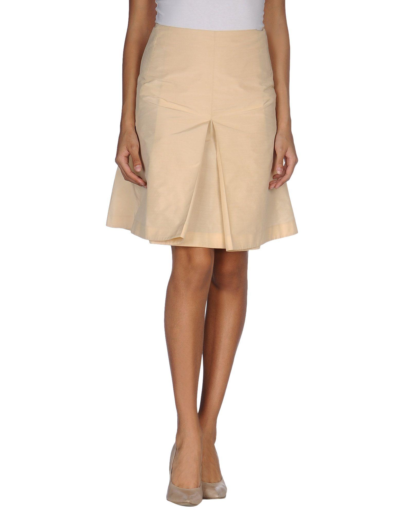 knee length skirt in beige save 82 lyst