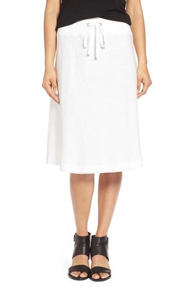 Eileen fisher Organic Linen Drawstring A-line Skirt in White | Lyst